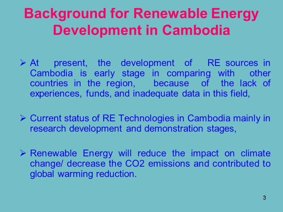 Background for Renewable Energy Development in Cambodia