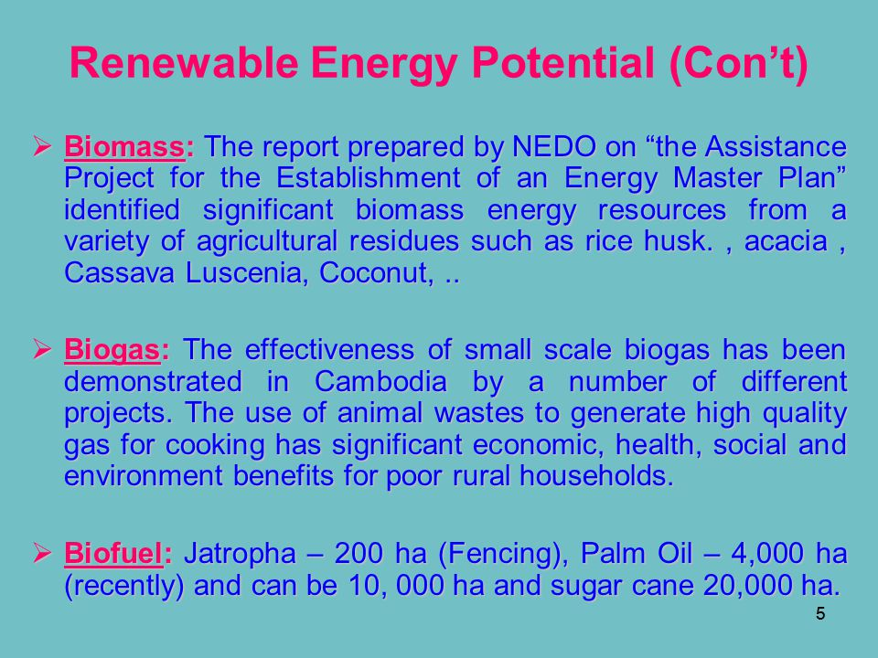 Renewable Energy Potential (Con't)