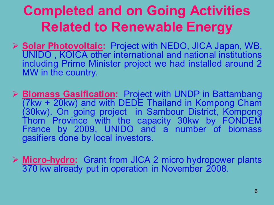 Completed and on Going Activities Related to Renewable Energy