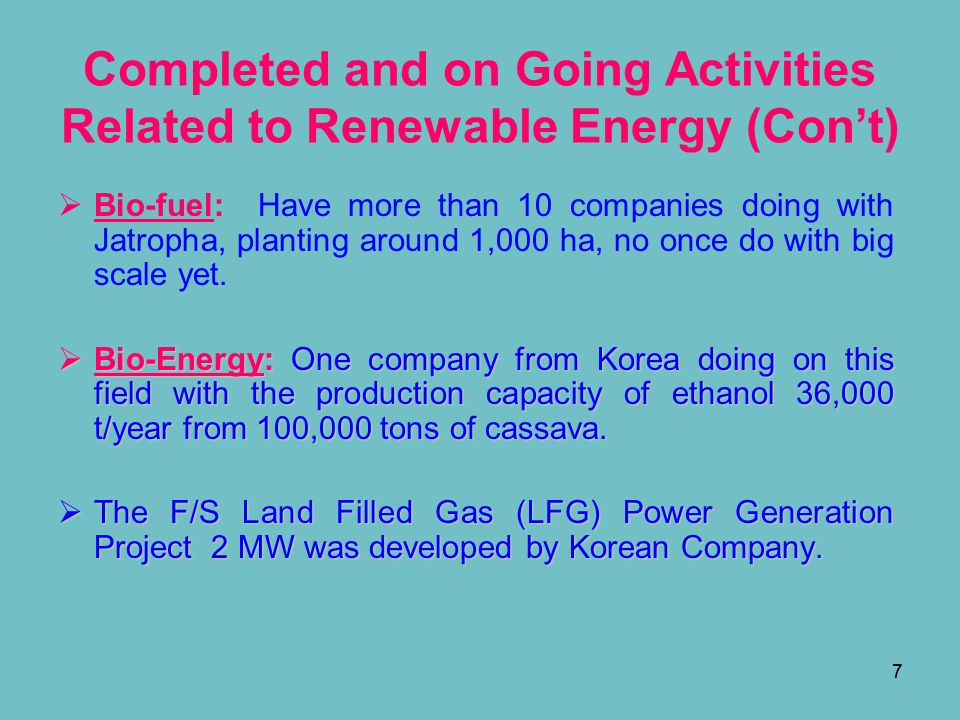 Completed and on Going Activities Related to Renewable Energy (Con't)