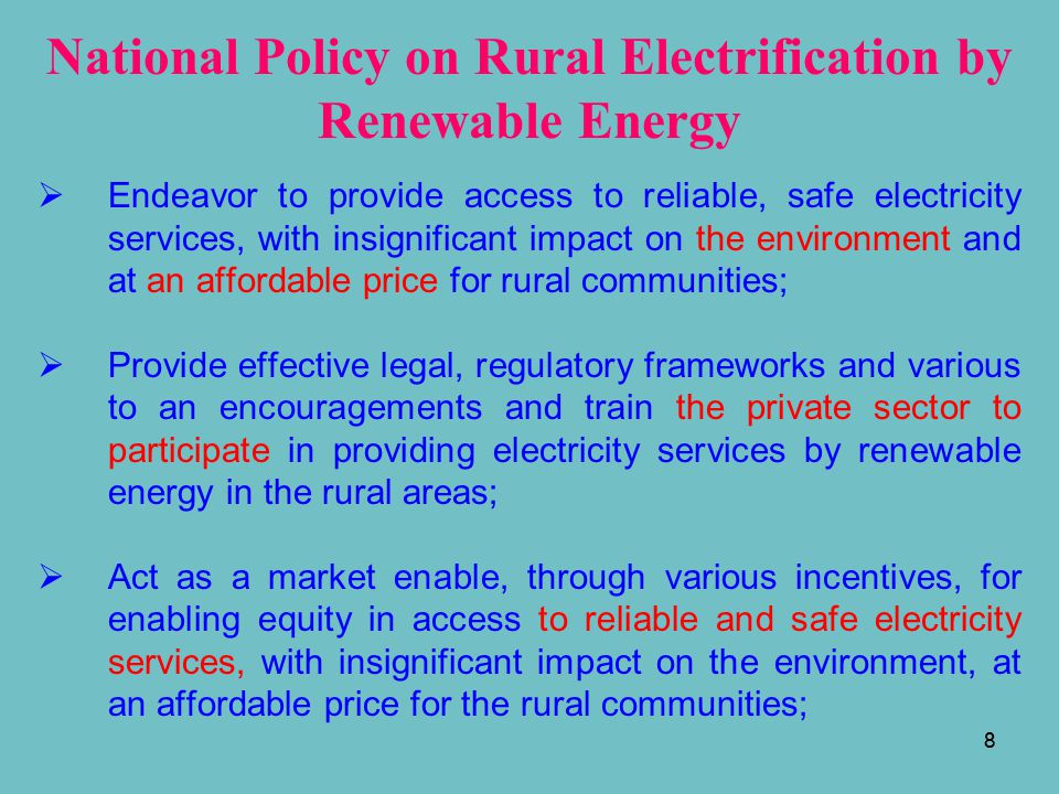 National Policy on Rural Electrification by Renewable Energy