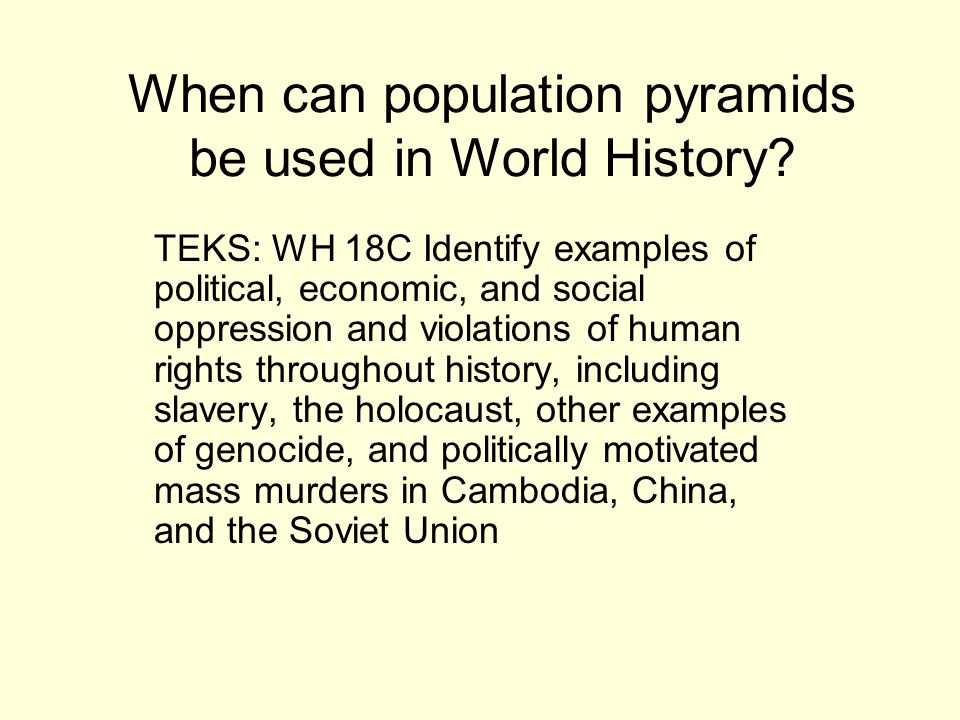 When can population pyramids be used in World History