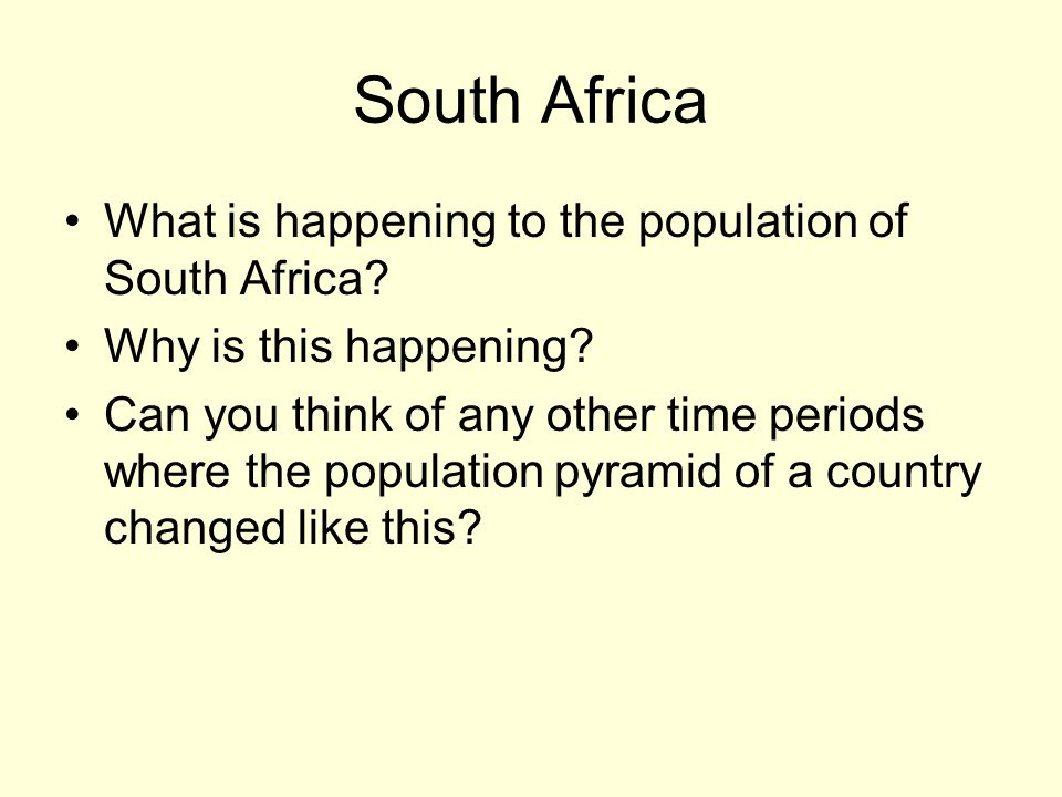 South Africa What is happening to the population of South Africa