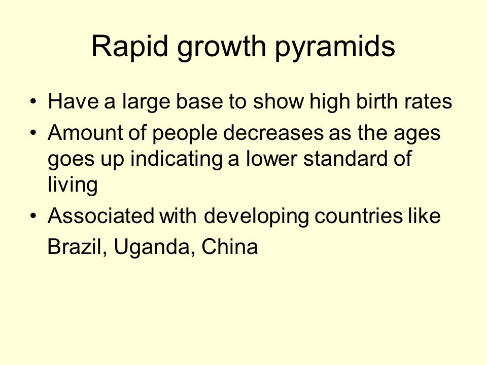 Rapid growth pyramids Have a large base to show high birth rates