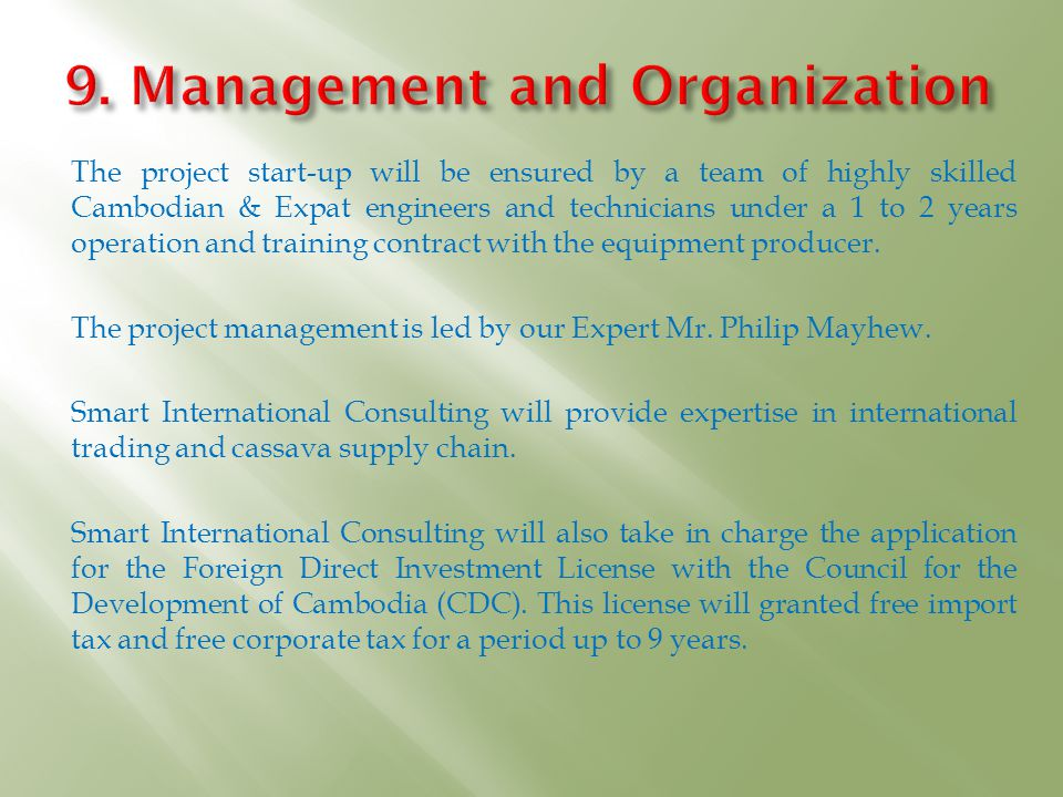 9. Management and Organization