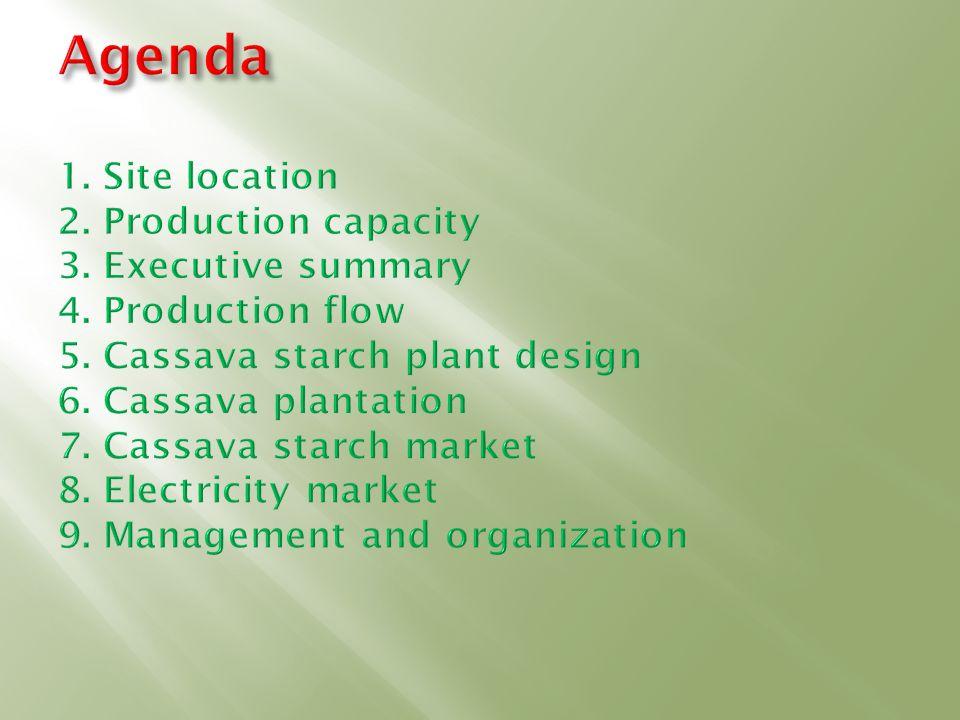 Agenda 1. Site location 2. Production capacity 3. Executive summary 4