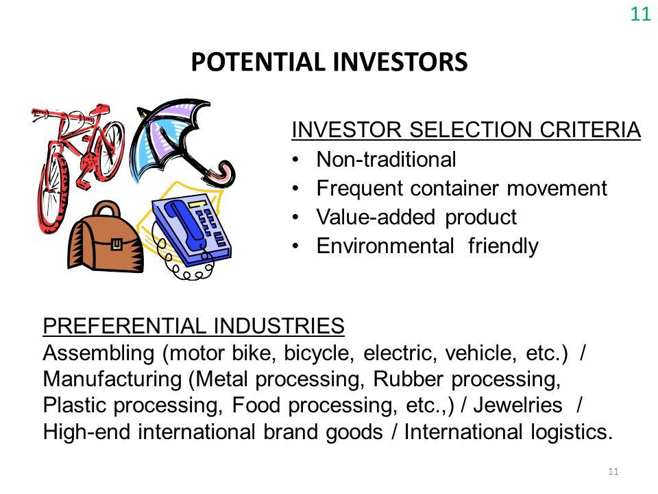 POTENTIAL INVESTORS 11 INVESTOR SELECTION CRITERIA Non-traditional
