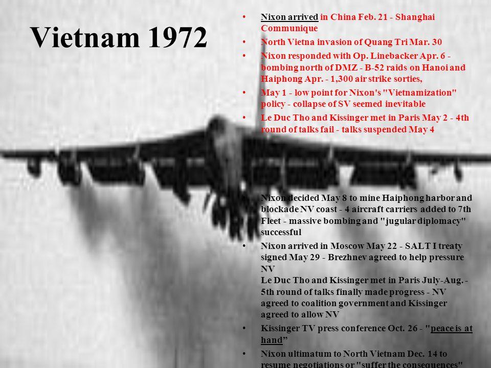 Vietnam 1972 Nixon arrived in China Feb. 21 - Shanghai Communique