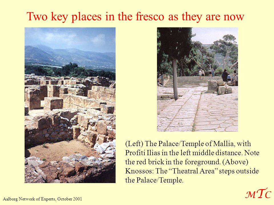 Two key places in the fresco as they are now
