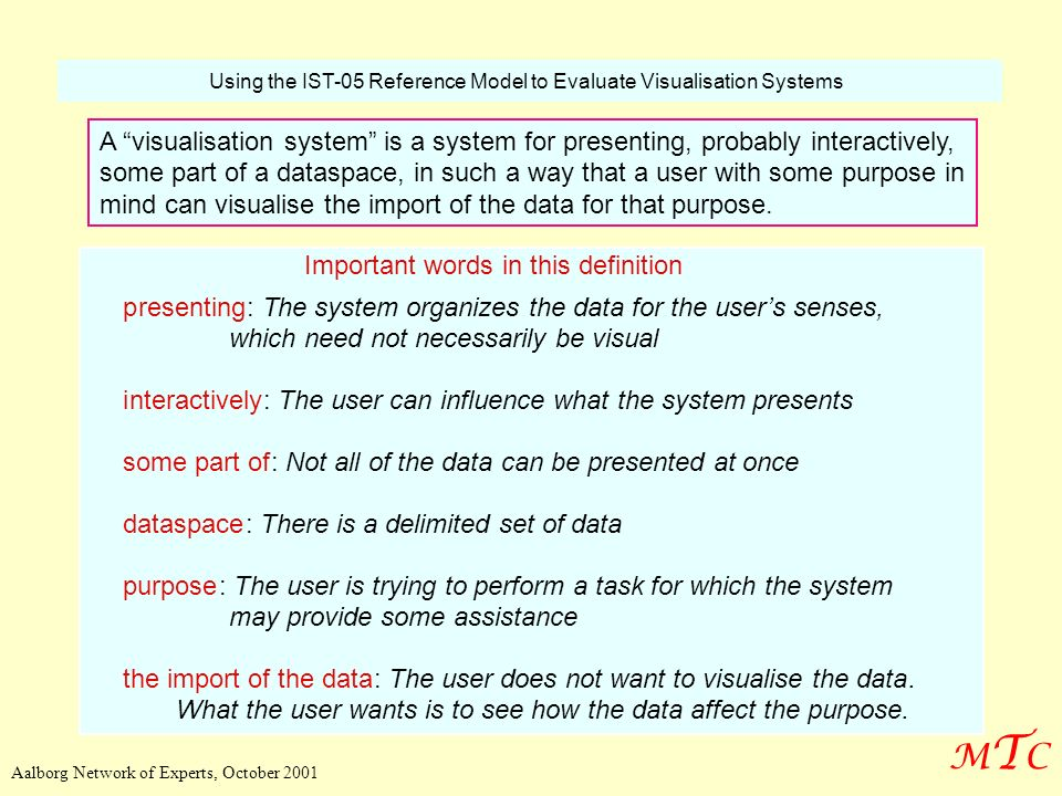 Using the IST-05 Reference Model to Evaluate Visualisation Systems