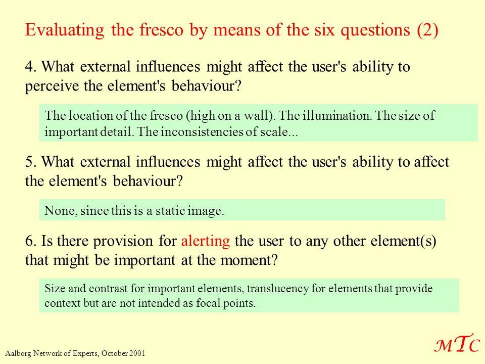 Evaluating the fresco by means of the six questions (2)