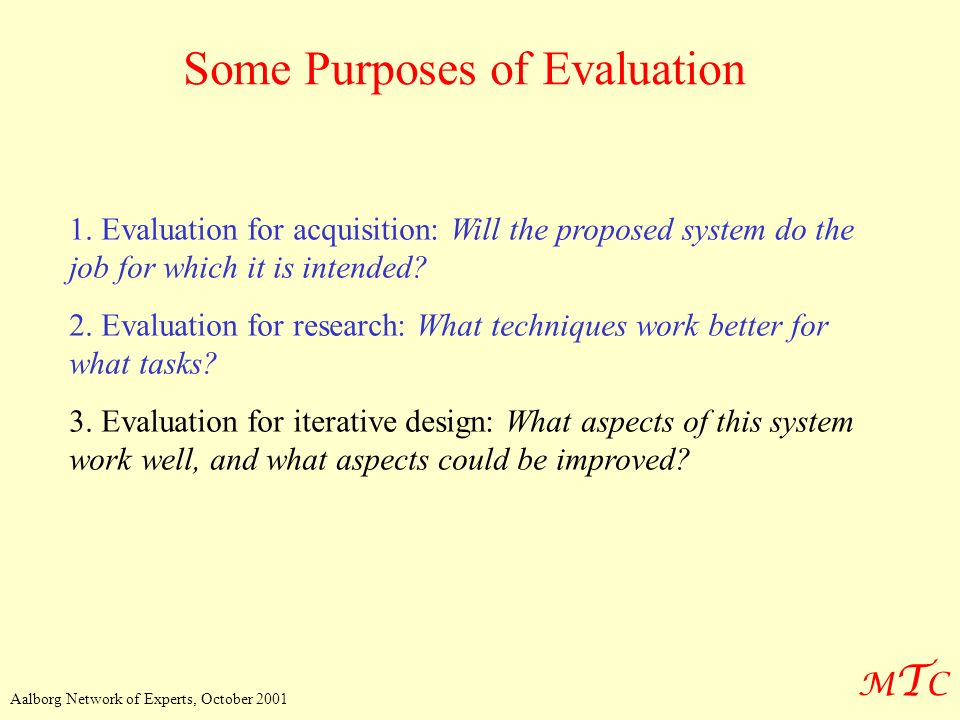 Some Purposes of Evaluation