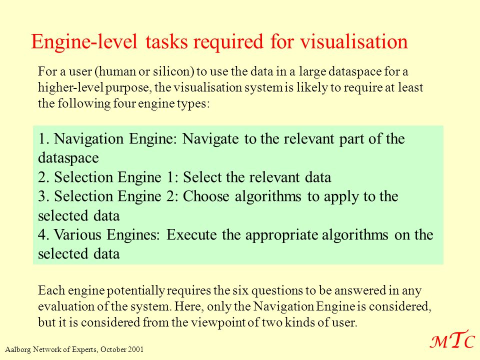 Engine-level tasks required for visualisation