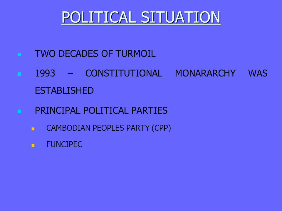 POLITICAL SITUATION TWO DECADES OF TURMOIL
