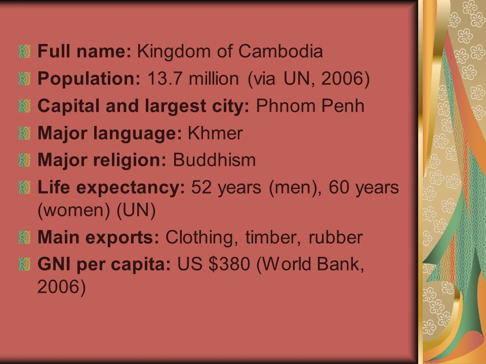 Full name: Kingdom of Cambodia