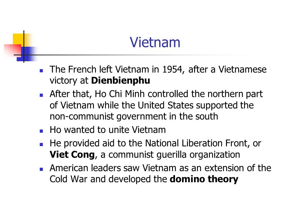 Vietnam The French left Vietnam in 1954, after a Vietnamese victory at Dienbienphu.