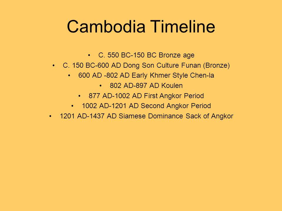 Cambodia Timeline C. 550 BC-150 BC Bronze age