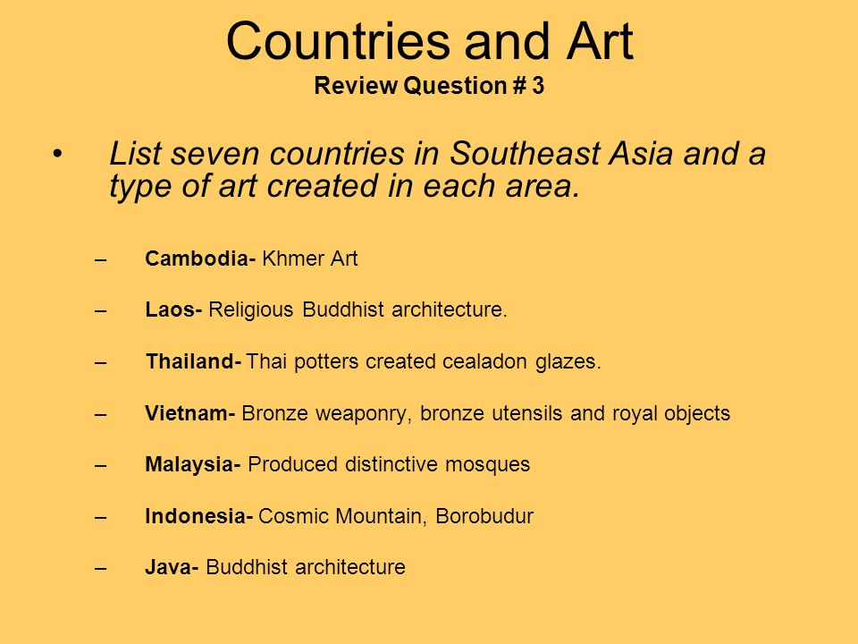 Countries and Art Review Question # 3