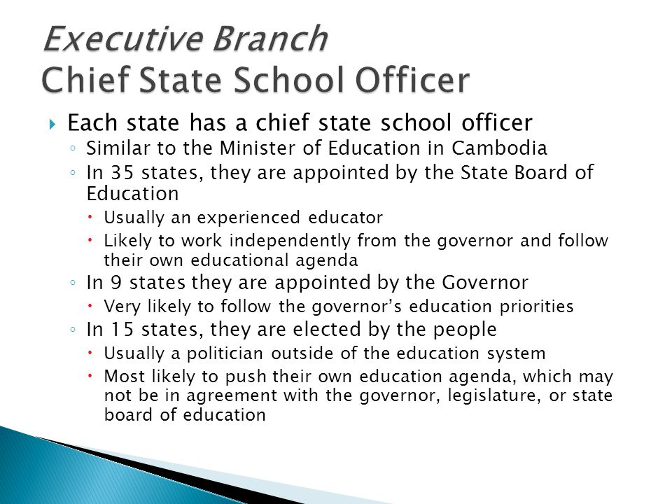 Executive Branch Chief State School Officer