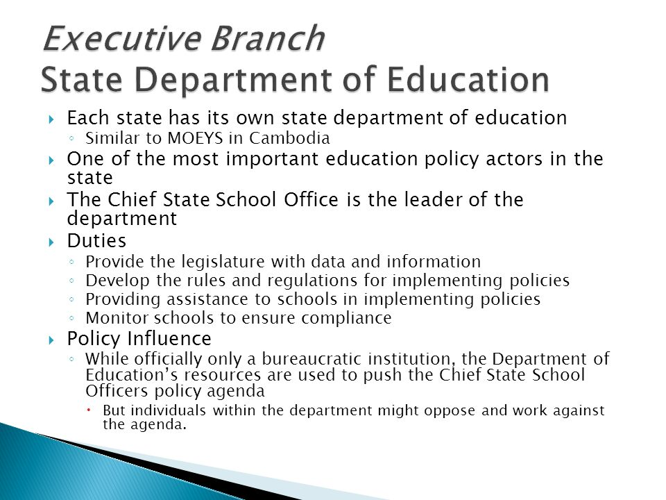 Executive Branch State Department of Education