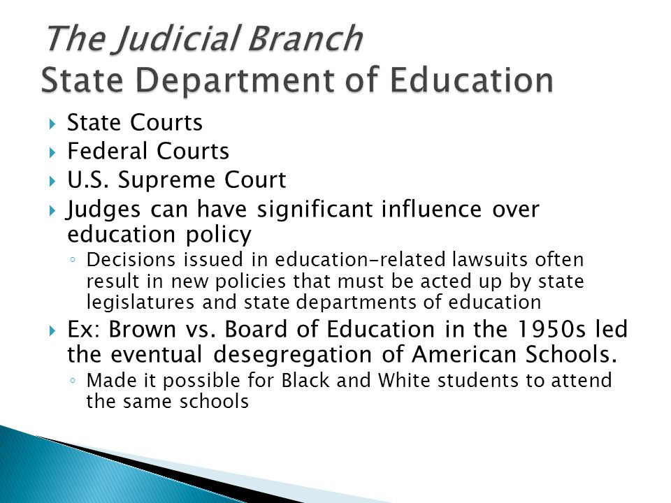 The Judicial Branch State Department of Education