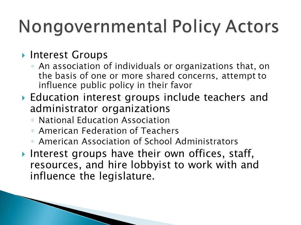Nongovernmental Policy Actors