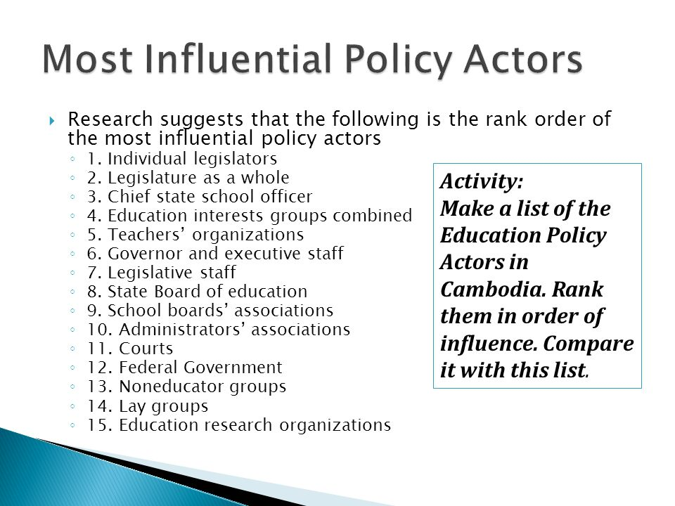 Most Influential Policy Actors