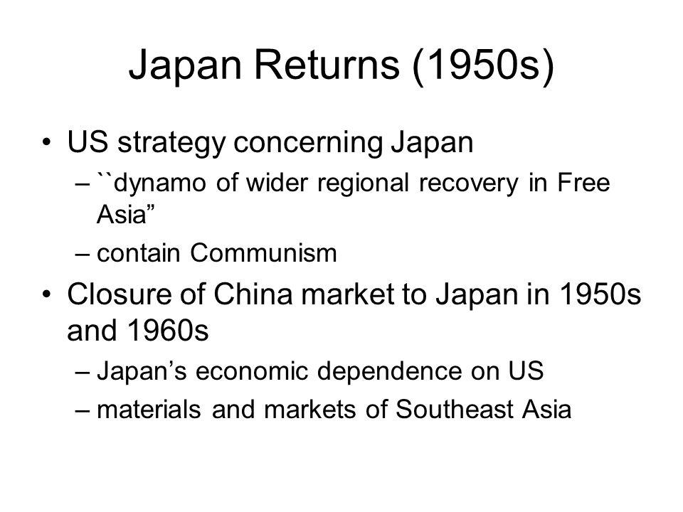 Japan Returns (1950s) US strategy concerning Japan