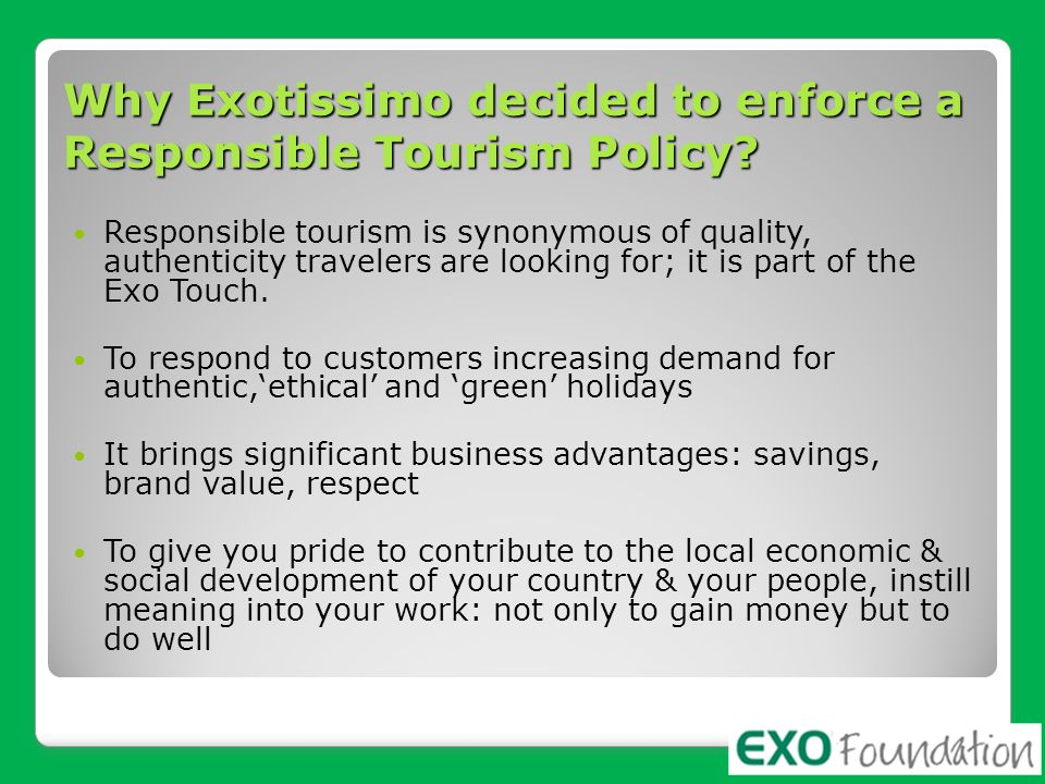 Why Exotissimo decided to enforce a Responsible Tourism Policy