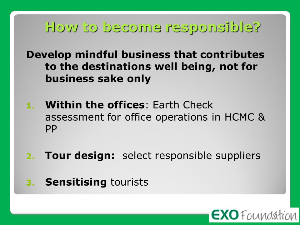 How to become responsible