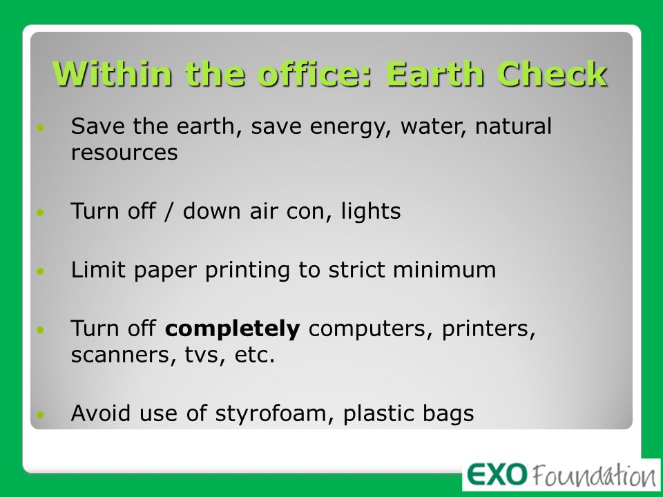 Within the office: Earth Check