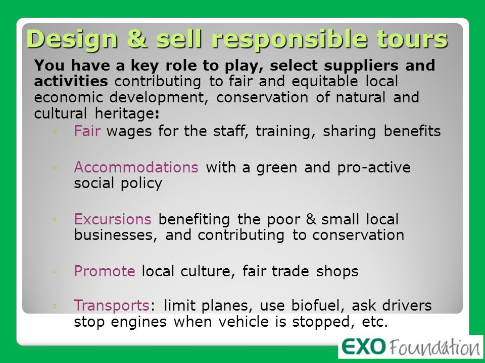 Design & sell responsible tours