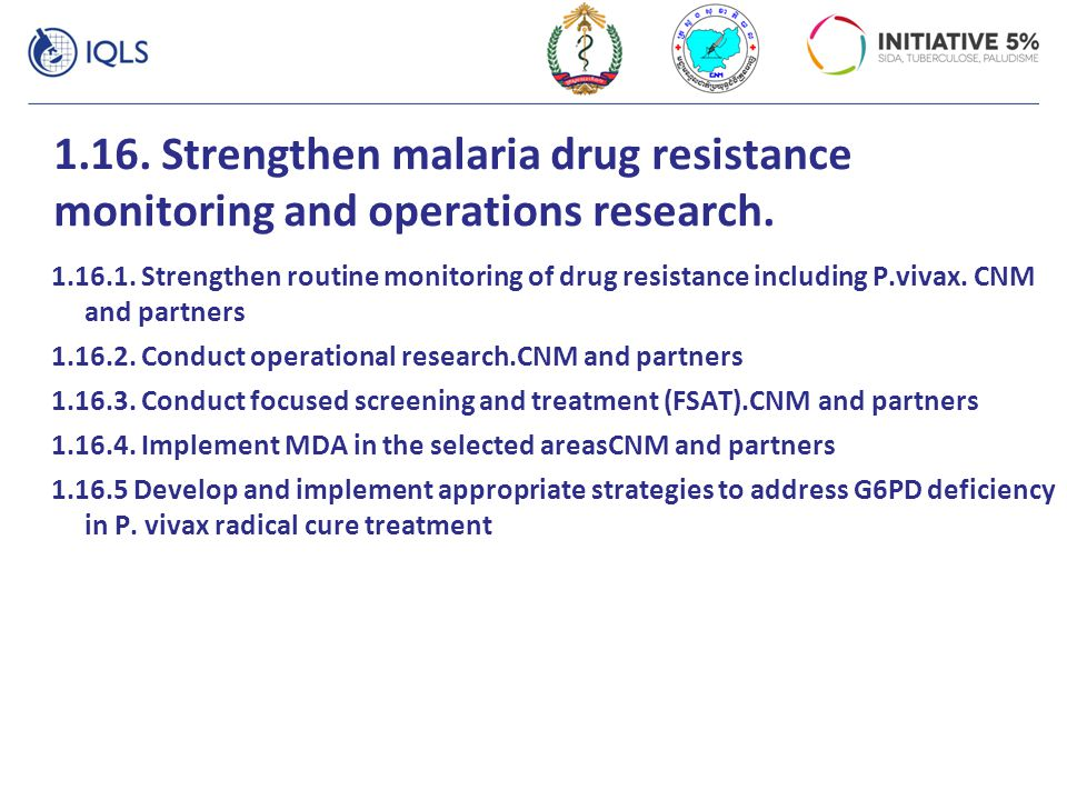 1.16. Strengthen malaria drug resistance monitoring and operations research.