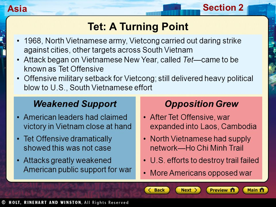 Tet: A Turning Point Weakened Support Opposition Grew