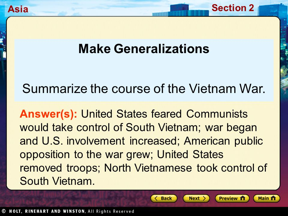 Summarize the course of the Vietnam War.