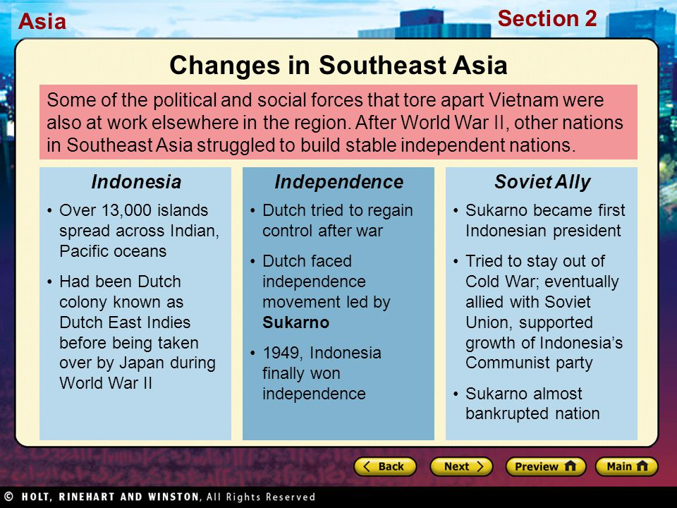 Changes in Southeast Asia