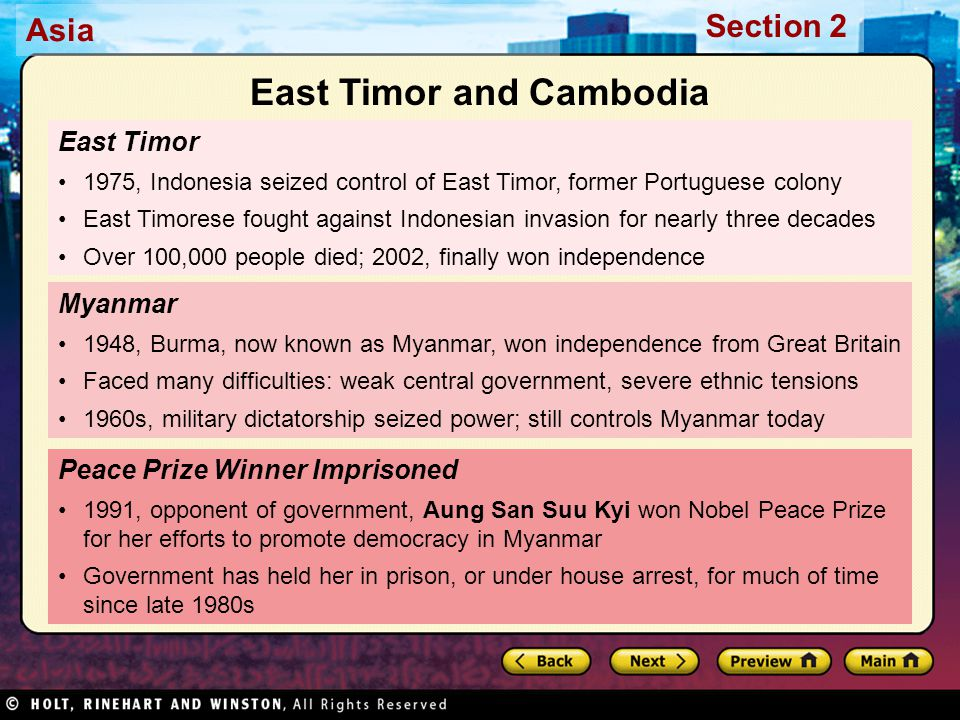 East Timor and Cambodia