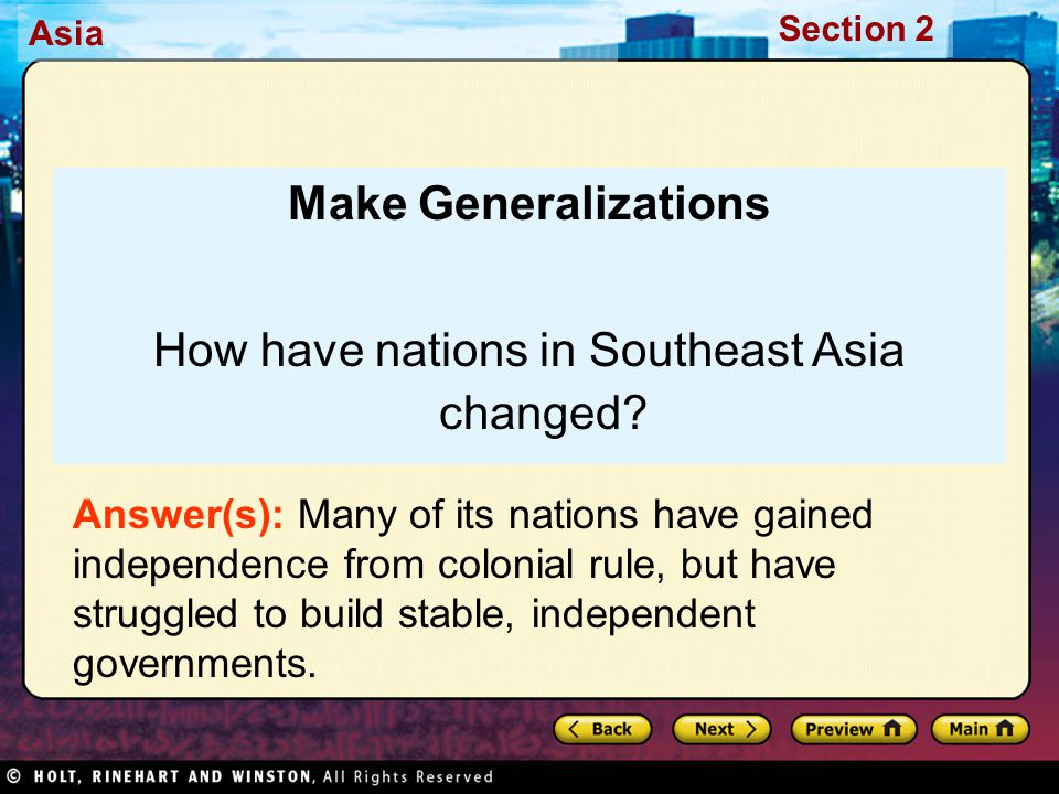 How have nations in Southeast Asia changed