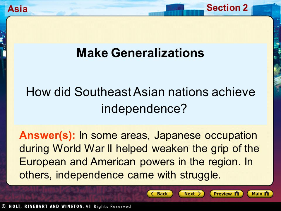 How did Southeast Asian nations achieve independence
