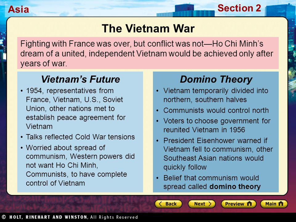 The Vietnam War Vietnam's Future Domino Theory