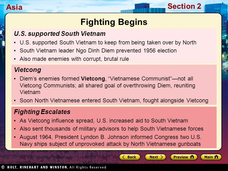 Fighting Begins U.S. supported South Vietnam Vietcong