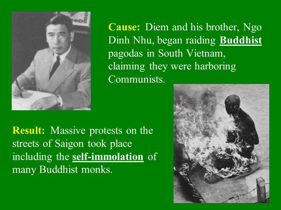 Cause: Diem and his brother, Ngo Dinh Nhu, began raiding Buddhist pagodas in South Vietnam, claiming they were harboring Communists.