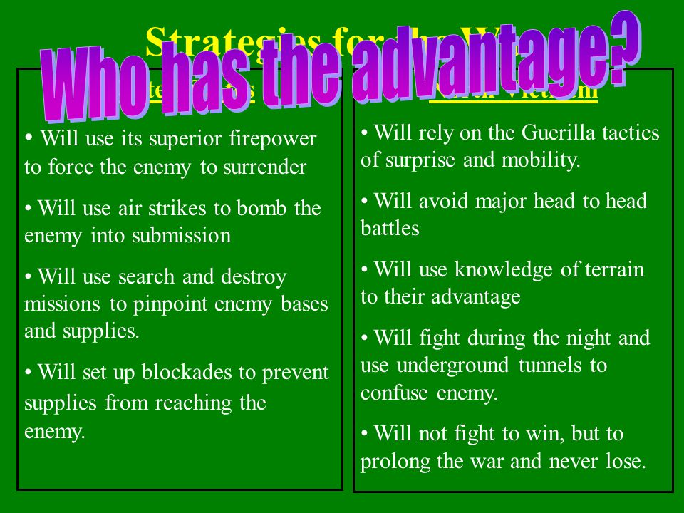 Strategies for the War Who has the advantage United States