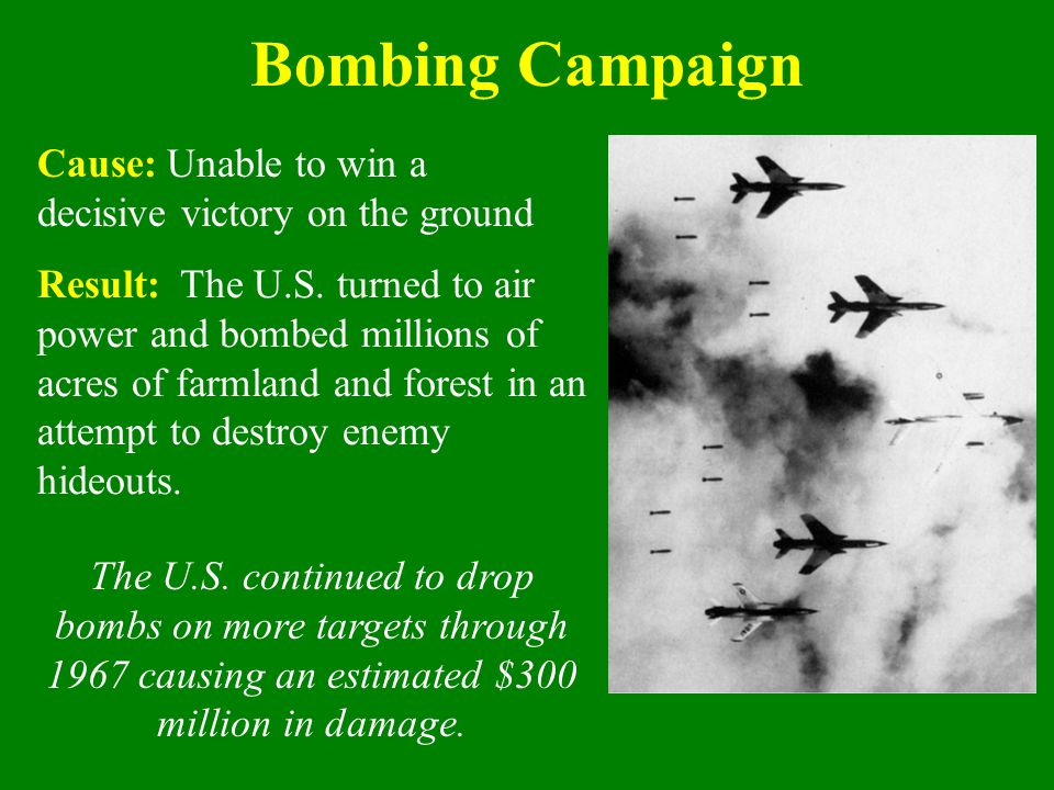 Bombing Campaign Cause: Unable to win a decisive victory on the ground