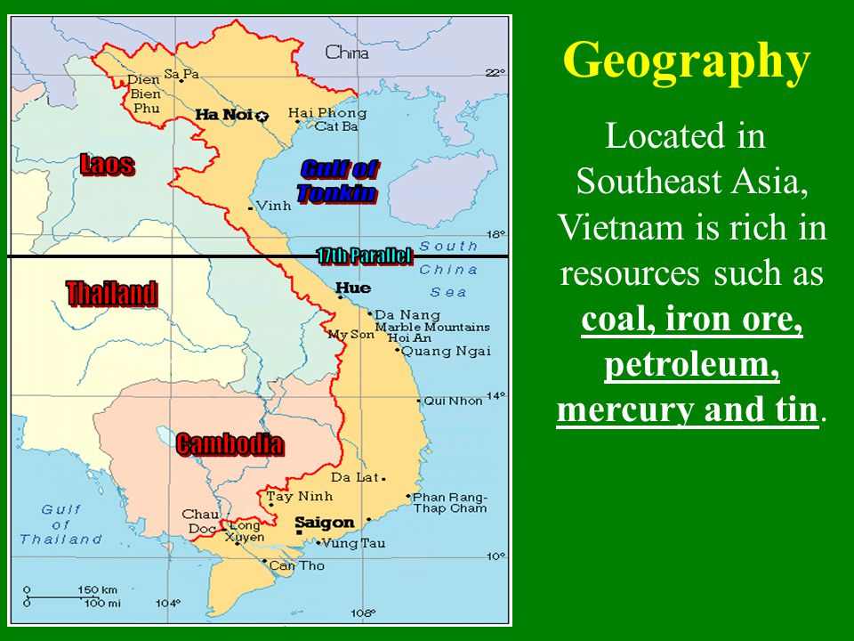Geography Laos Gulf of Tonkin 17th Parallel Thailand Cambodia