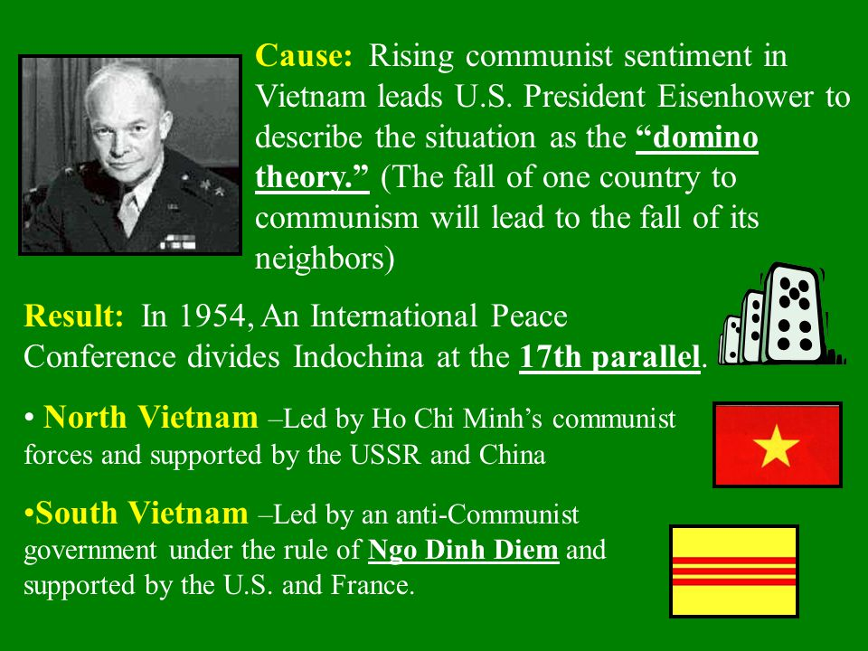 Cause: Rising communist sentiment in Vietnam leads U. S