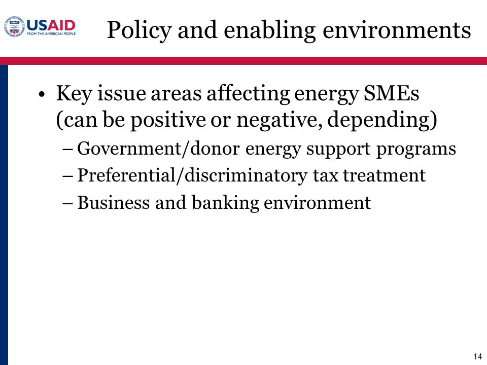 Policy and enabling environments