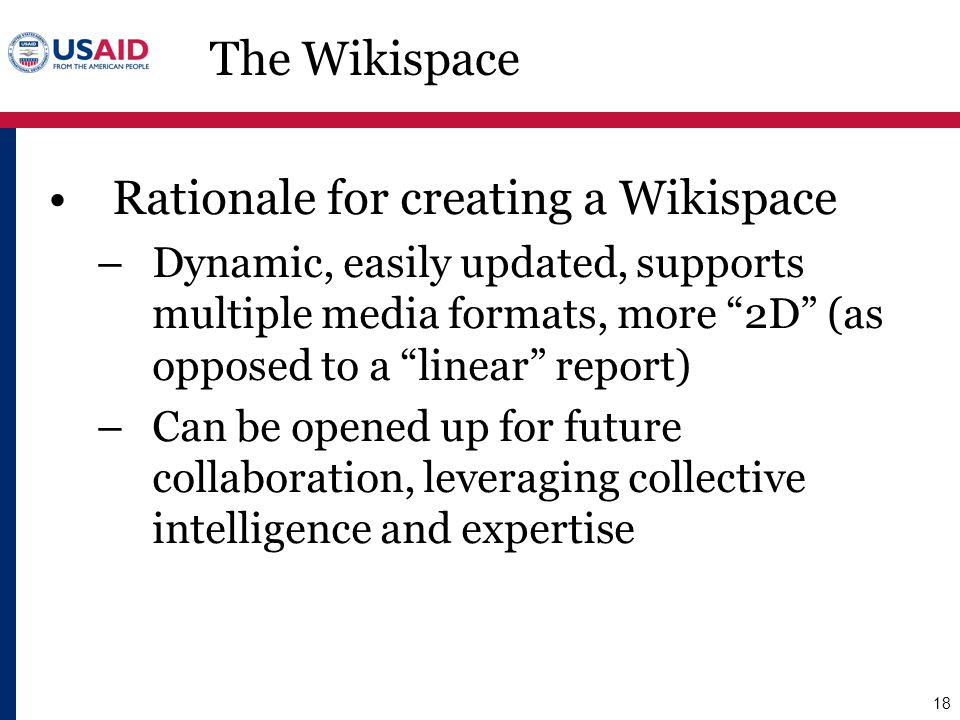 Rationale for creating a Wikispace