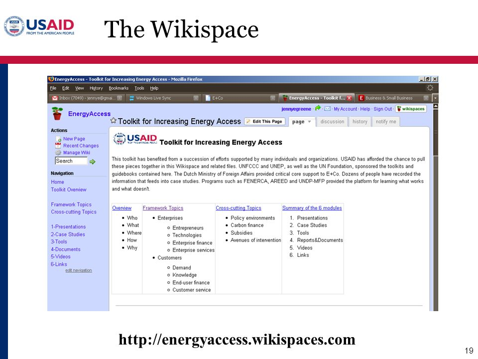 The Wikispace http://energyaccess.wikispaces.com