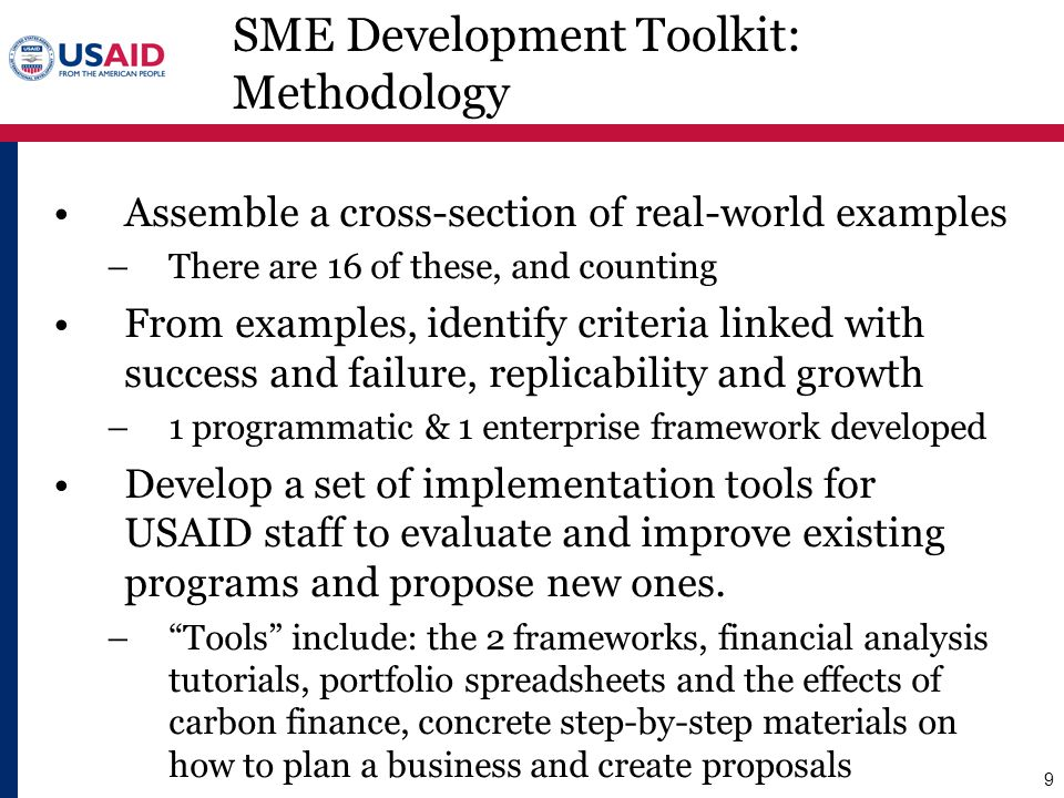 SME Development Toolkit: Methodology